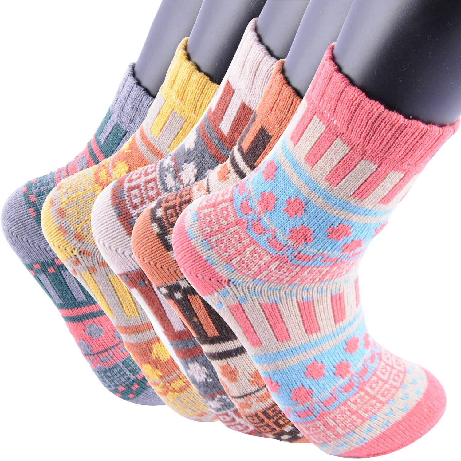 Areke Womens Vintage Soft Warm Thick Wool Cozy Crazy Novelty Socks, Winter Cold Knit Crew Socks 5 Pairs Color Multicolor 02-5Pack Size US Shoe Size 5-10