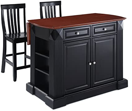 Amazoncom Crosley Furniture Kf300072bk Drop Leaf Kitchen Island