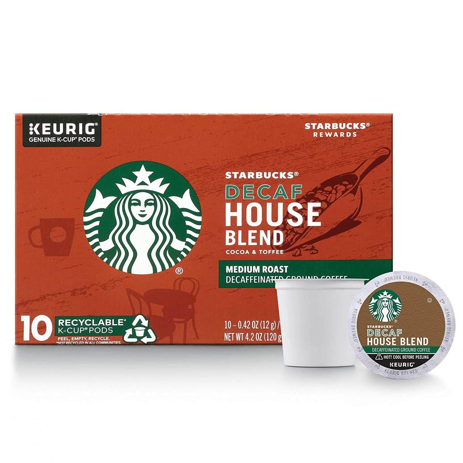 Starbucks Decaf House Blend Medium Roast Single Cup Coffee for Keurig Brewers, 1 Box of 10 (10 Total K-Cup pods)