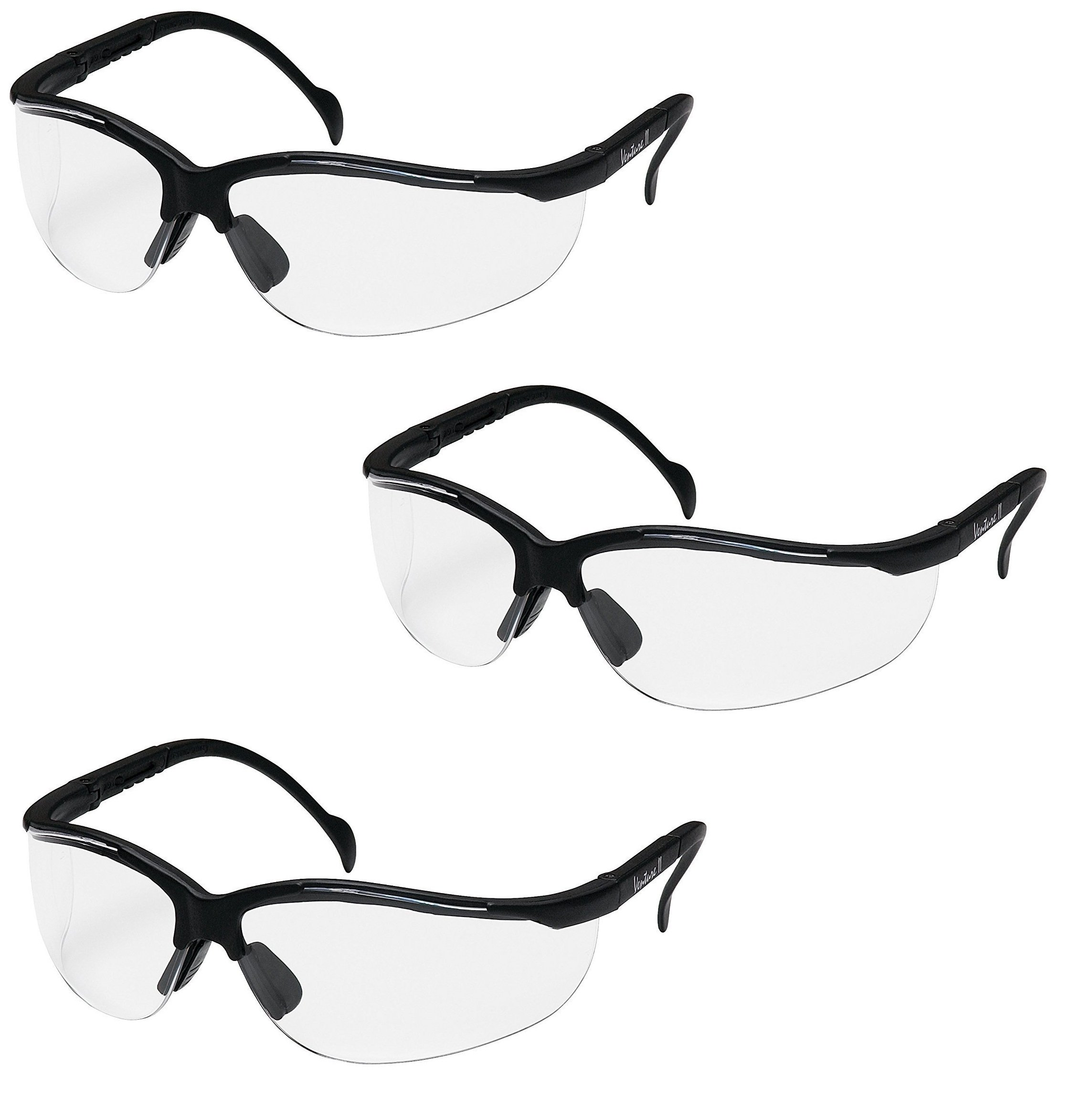 (3 Pair) Pyramex Venture II Safety Eyewear (Clear Anti-Fog Lens)