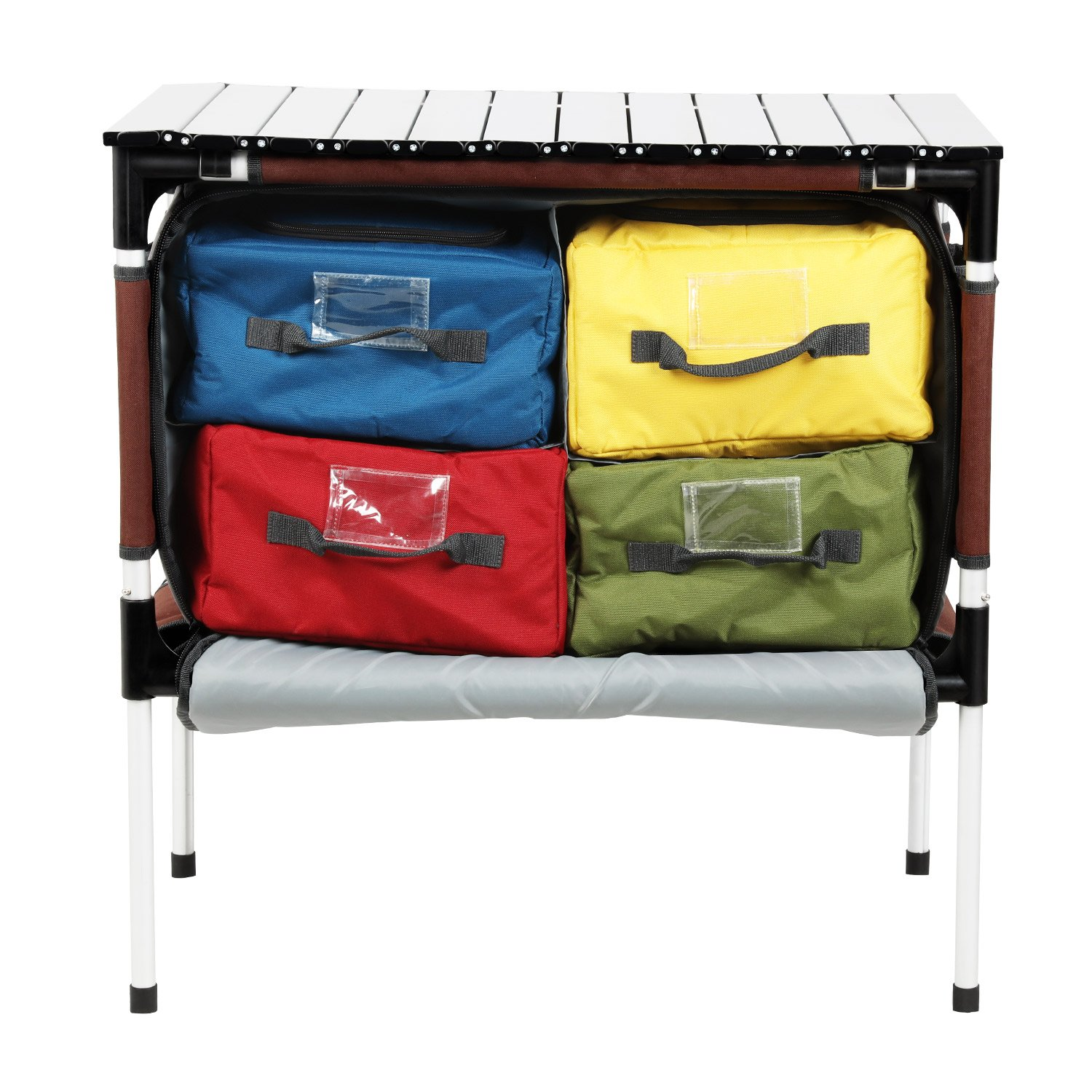 PORTAL Multifunctional Folding Camp Table Aluminum Lightweight Picnic Organizer with Large Zippered Compartment Contains Four Cooler Storage Bags for BBQ, Party, Camping, Kitchen by PORTAL
