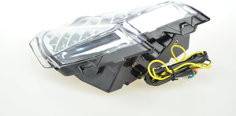 Topzone Moto claro lente motocicleta LED Faros traseros para luz trasera de freno con integrado Turn Signal Lamp Indicadores para KTM 2007-2013 690 DUKE