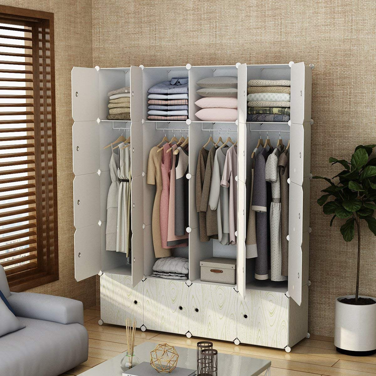 MAGINELS Closet Shelves Wardrobe Clothes Organizer Cube Storage Armoire  Cabinet Dresser for Bedroom Portable Wood Grain 8 Cube & 4 Hanging Section
