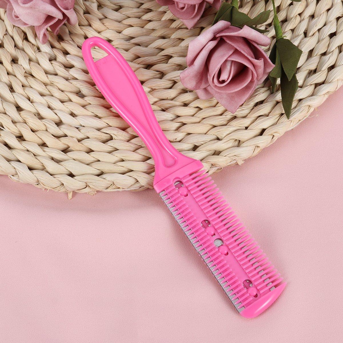Frcolor Peine de corte de pelo, peine de recorte de pelo lateral doble Peine de acero inoxidable, paquete de 3 (color de rosa rojo): Amazon.es: Belleza