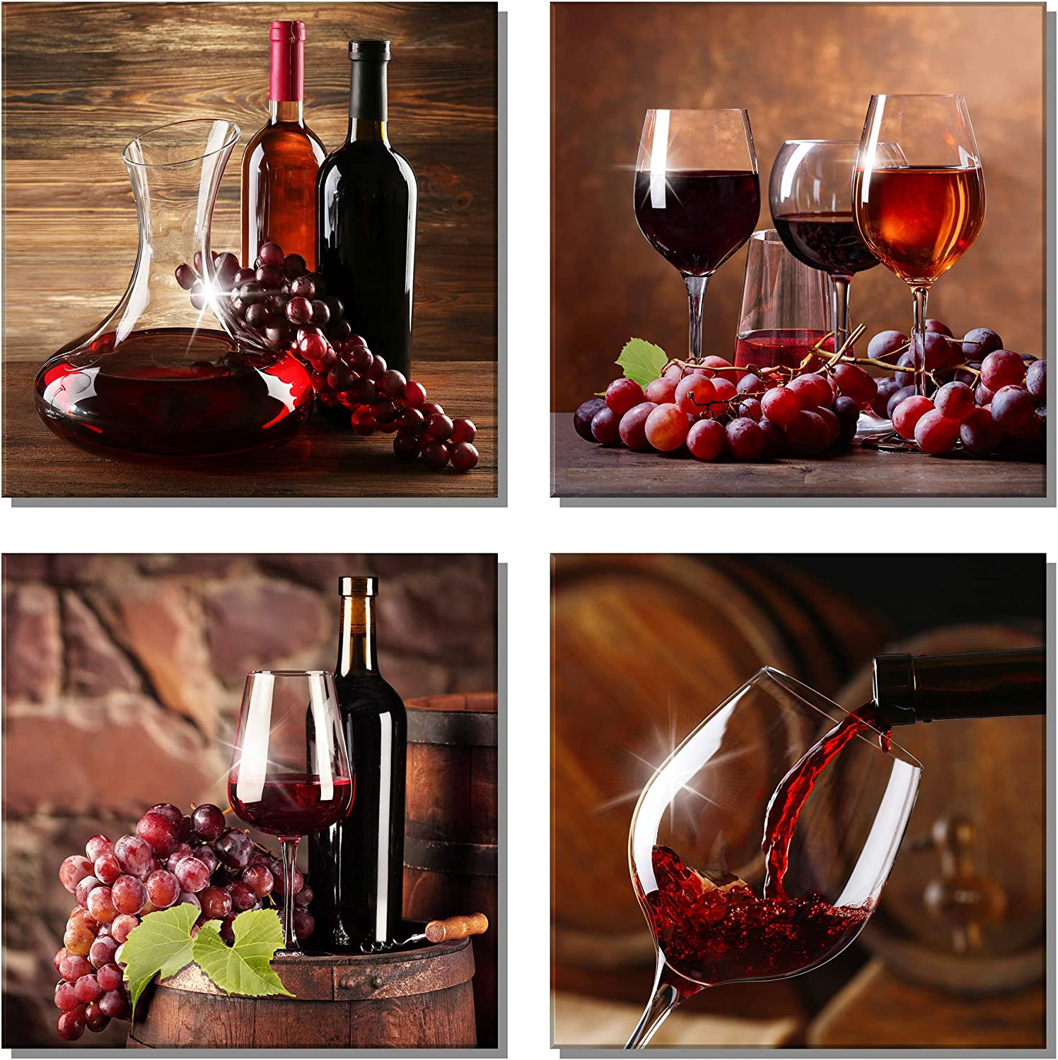 U&A Red Grape Wine Wall Art Still Life Poster Fruit Goblet Canvas Painting Decorations for Dining Room Salon Bar Office Home Decor(12
