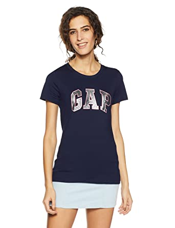 c310ed196 GAP Women's Logo Short Sleeve t-shirt: Amazon.in: Clothing & Accessories