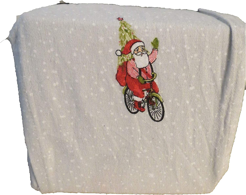 Amazon Com Threshold Christmas Santa Bike Holiday Print Flannel Sheet Set King Home Kitchen