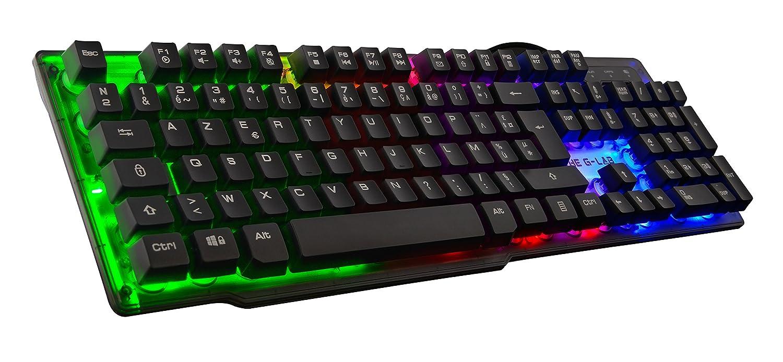 G-Lab keyz-neon/イギリスRAINBOW LEDバックライト付きゲーミングキーボード - アンチゴースト19キー - 12マルチメディアショートカット B07BX6GXWT
