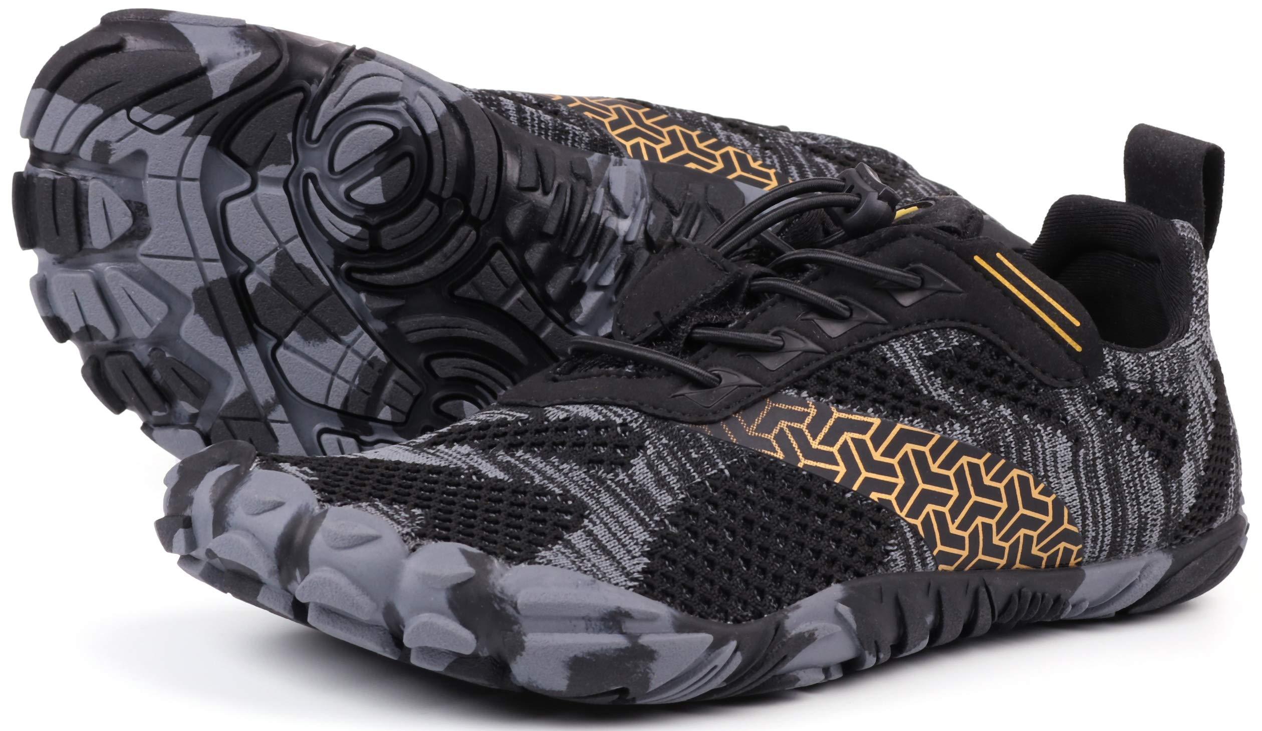 JOOMRA Women's Trail Running Minimal Shoes Camping Trekking Toes Five Fingers Ladies Workout Sneaker Barefoot Walking Zapatos Deportivos de Mujer Black Size 6