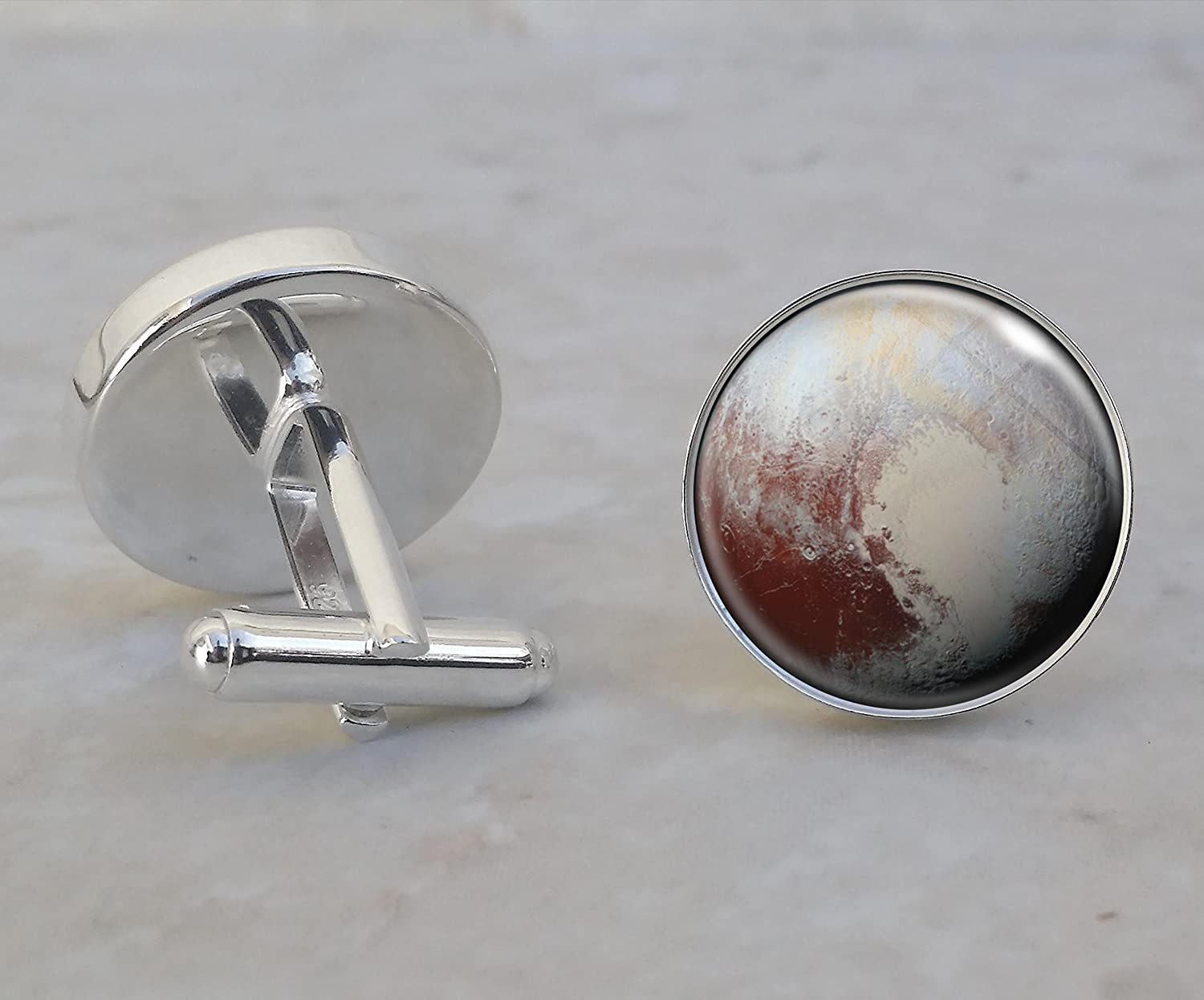 Pluto Planet Astronomy Sterling Silver Cufflinks