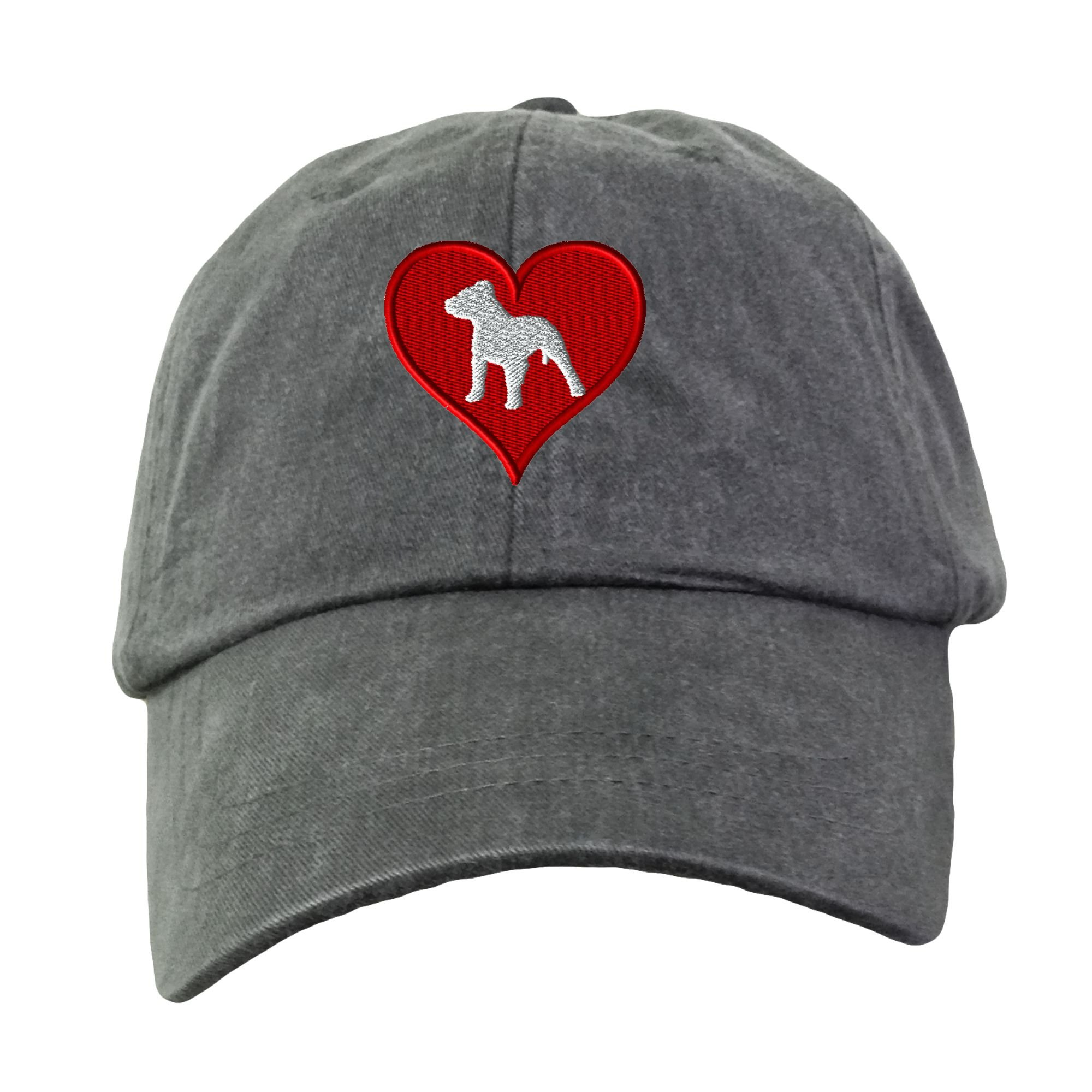 Love Heart Pitbull Embroidered Baseball Hat Dog Unisex Unstructured Low Profile Cap