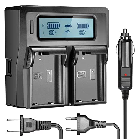 Neewer Dual LCD Cargador de Batería para Nikon EN-EL15 (Enchufe EE.UU ,UE + Adaptador de Cargador de Coche)