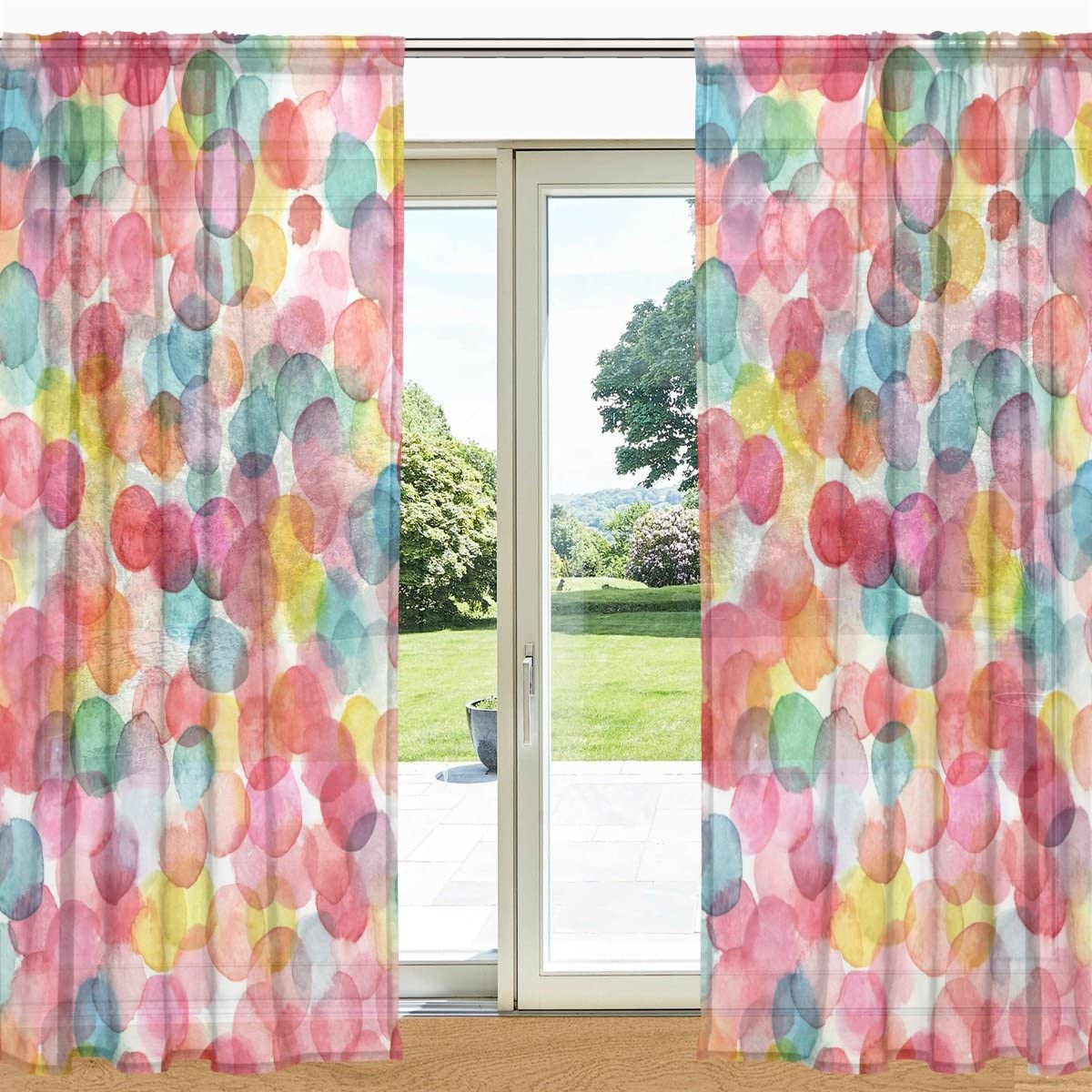 ALAZA My Daily Multicolored Watercolor Dots Printed Sheer Window and Door Curtain 2 Panels 55 x 84 , Rod Pocket Panels for Living Room Bedroom Decor