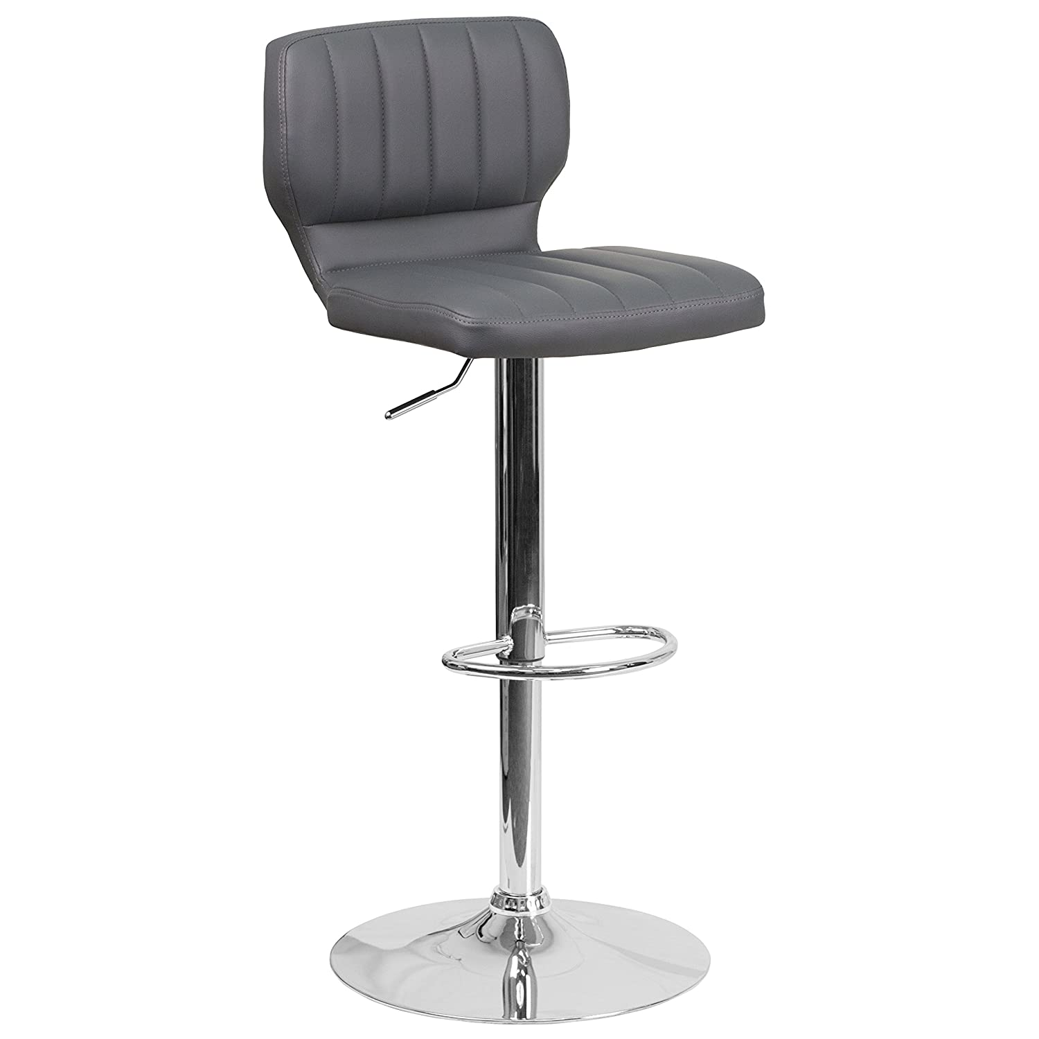 Flash Furniture 2 Pk. Contemporary Gray Vinyl Adjustable Height Barstool with Chrome Base
