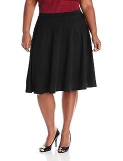 4fb89f66bc Star Vixen Women's Plus-Size Knee-Length Full Skater Skirt with Self ...