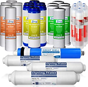 iSpring F28K75 3-Year Filter Replacement Supply Set For 6-Stage Reverse Osmosis Water Filtration Systems, 28Pcs, White
