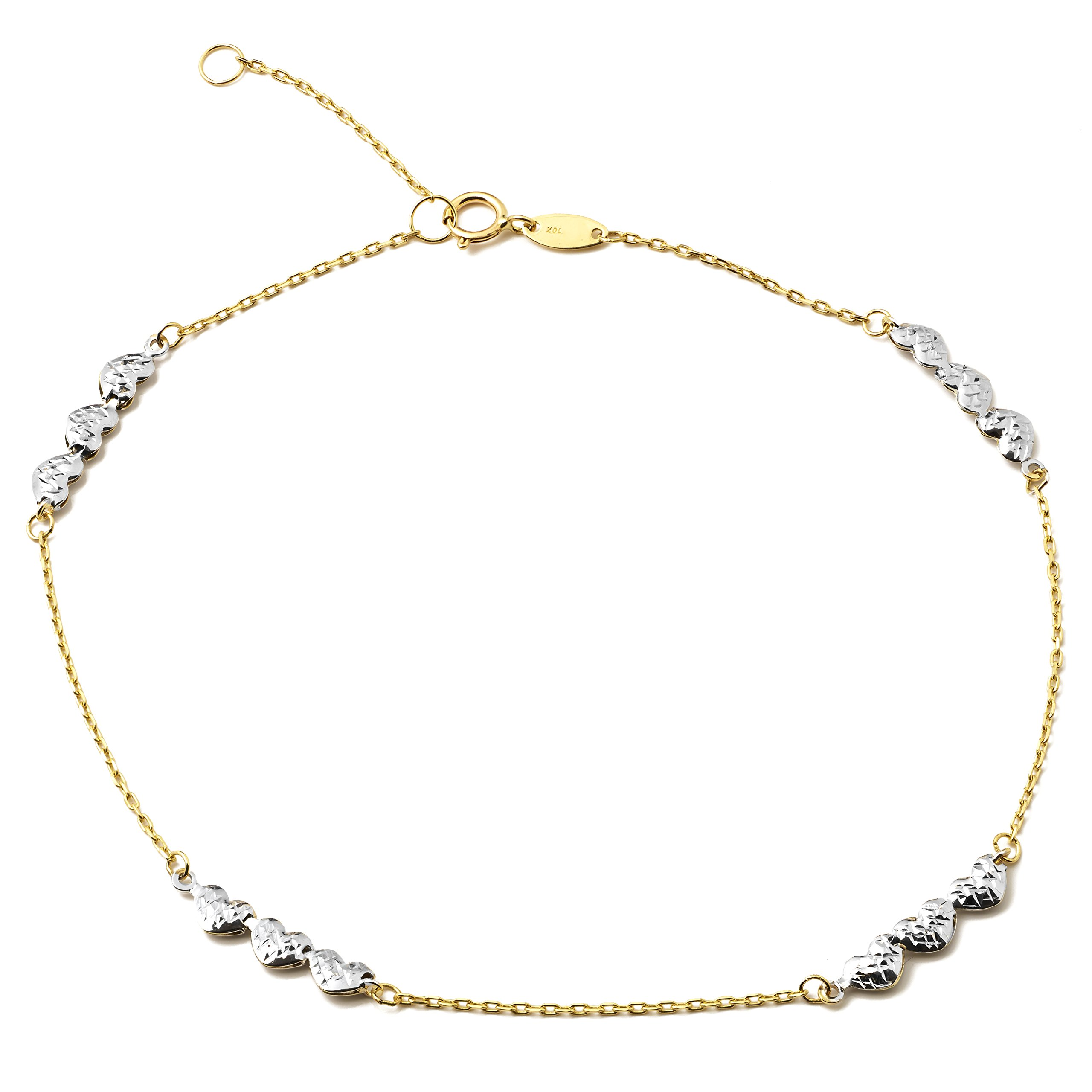 LOVEBLING 10K Yellow Gold .5mm Rolo Chain with 3 White Gold Diamond Cut Heart Charms Anklet Adjustable 9'' to 10'' (#49)
