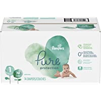 Pampers Diapers Newborn Size 1, Pure Protection Disposable Baby Diapers, 74 Count, Super Pack (Packaging May Vary)