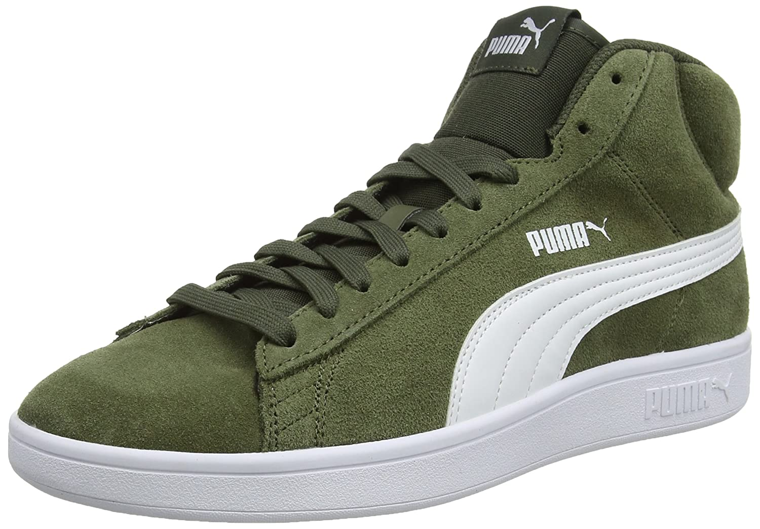 Puma Smash V2 Mid SD, Zapatillas Altas Unisex Adulto 45 EU|Verde (Forest Night-puma White 03)
