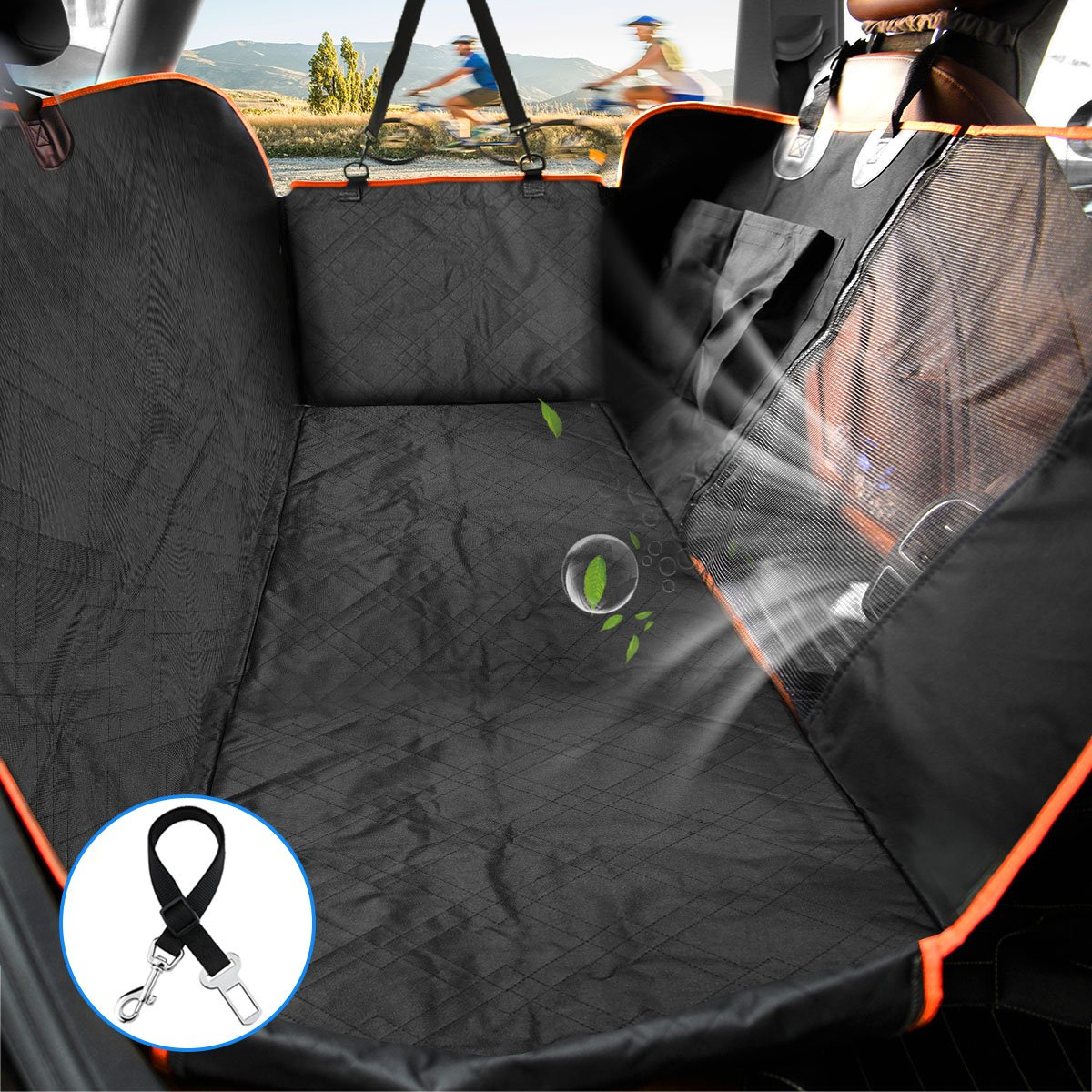 Lanktoo Dog Seat Cover with Mesh Viewing Window and Front Split Zipper, Heavy Duty Waterproof Nonslip Dog Car Hammock & Back Seat Cover for Cars Trucks SUVs (L54xW59 inches)