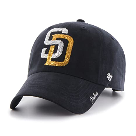 buy popular 9bebd 2ca75 ... denmark 47 mlb san diego padres womens sparkle clean up adjustable hat  navy 2e5b8 d7b00