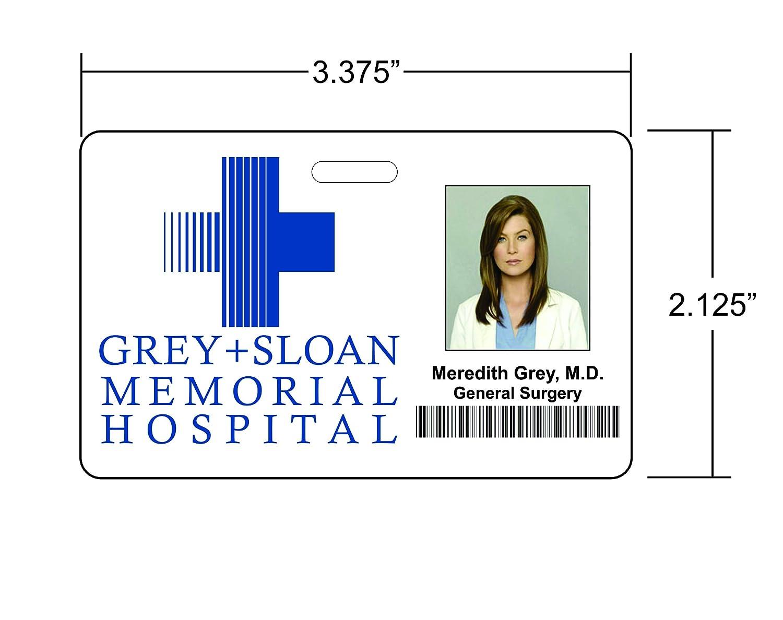 Meredith Grey Greys Anatomy Novelty Id Badge Film Jpg 1500x1188 Zombie Nurse Name Tag Printable