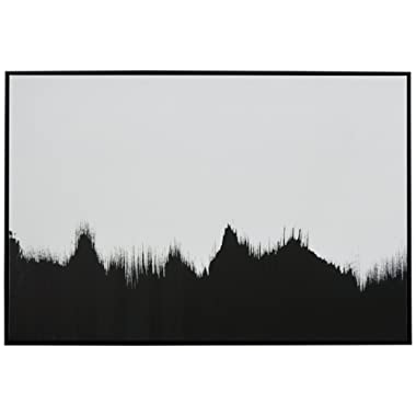 Abstract Black and White Wall Art Print of Tree Line in Black Frame, 36  x 24
