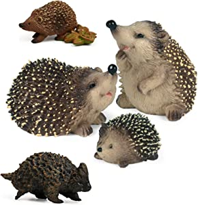 UANDME 5pcs Hedgehog Toy Figures Forest Animals Figurines, Woodland Creatures Playset, Minuature Toys Cake Toppers