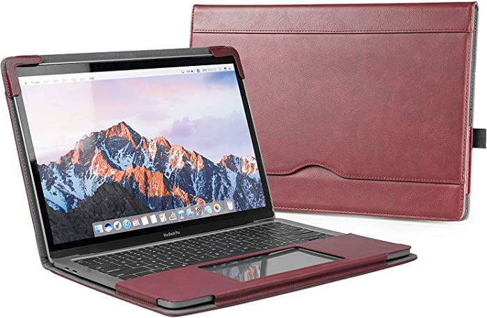 """TYTX MacBook Air Leather Case 13.3 Inch 2010-2017 (A1466 A1369) Laptop Sleeve Protective Folio Book Cover (Old MacBook air 13.3"""", Wine Red)"""