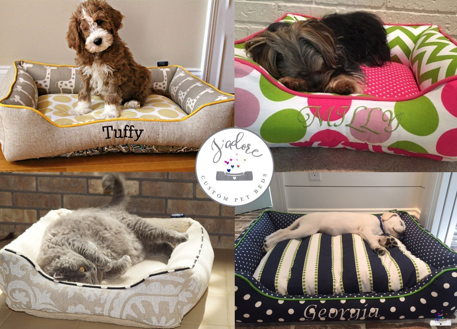 Washable Free Name Embroidery Faux Cowhide Grey Dog Bed Cat Bed Personalized