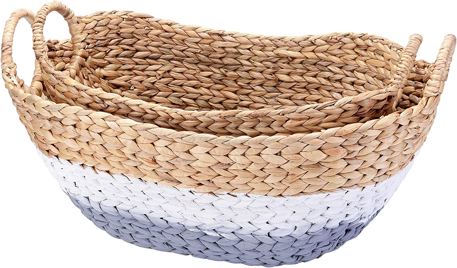 VILLACERA Tessa Handmade Wicker Water Hyacinth Oval Nesting Baskets in Gray and White | 24 20-Inch Wide | Set of 2