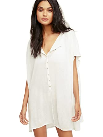 1a159be82e KingsCat Classic Painters Bikini Shirt Dress / Swimsuit Cover Up , White:  Amazon.co.uk: Clothing