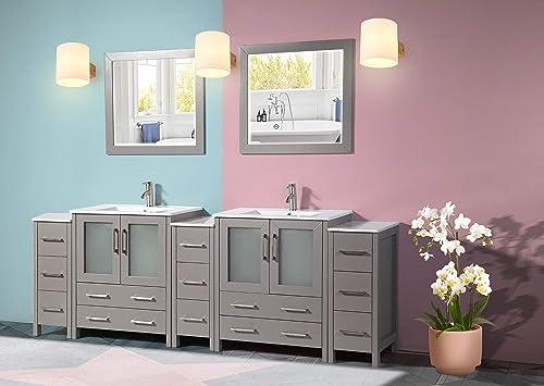 Vanity Art 96 Inch Double Sink Modern Bathroom Vanity Compact Set 2 Shelves 13 Drawers Ceramic Top Under-Mount Sink Bathroom Cabinet