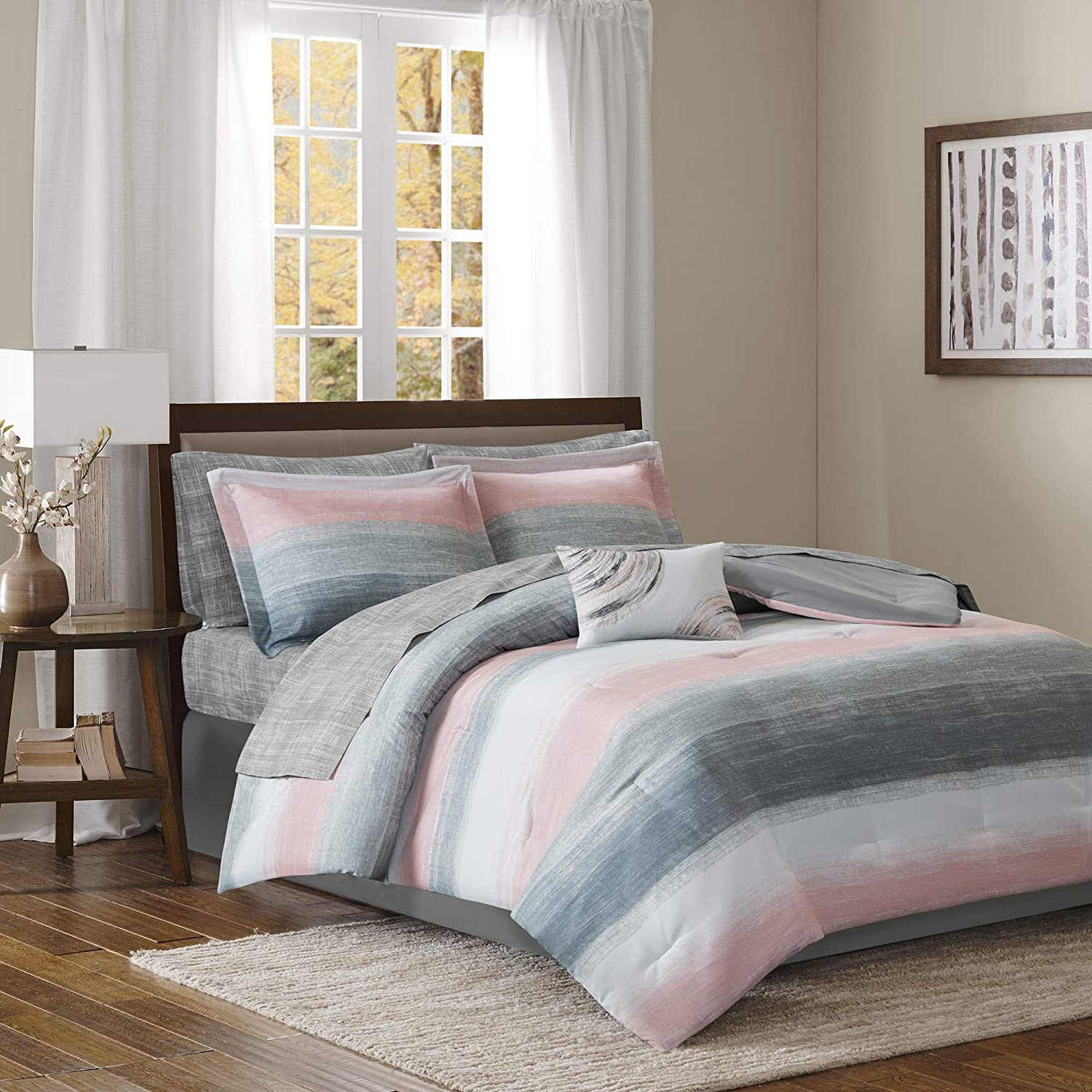 Madison Park Essentials Saben 9 Piece Complete Comforter and Cotton Sheet Set, California King, Blush