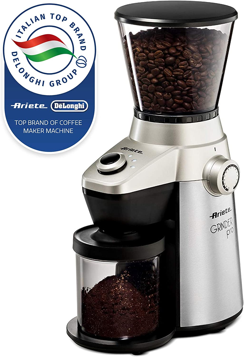 Ariete -Delonghi Electric Coffee Grinder – Professional Heavy Duty Stainless Steel, Conical Burr – Ultra Fine Grind, Adjustable Cup Size, 15 Fine – Coarse Grind Size Settings