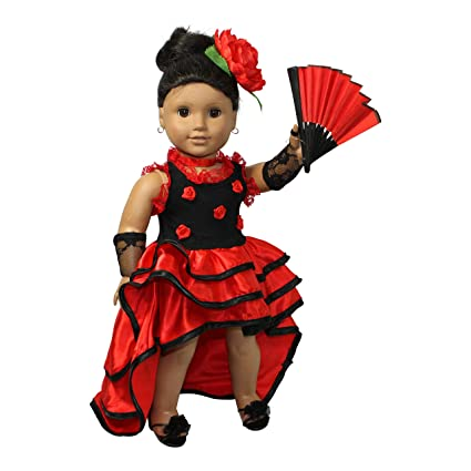 a0b8330ab Image Unavailable. Image not available for. Color: Flamenco red dress 4pcs. 18  inch doll clothes/fits American girl doll