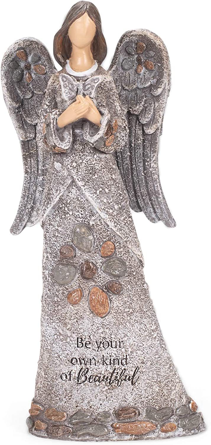 Roman 14-inch High Angel with Butterfly Pebble Garden Statue