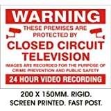 WARNING 24HR VIDEO RECORDING SIGN. RIGID PLASTIC. PRINTED. 150x200MM