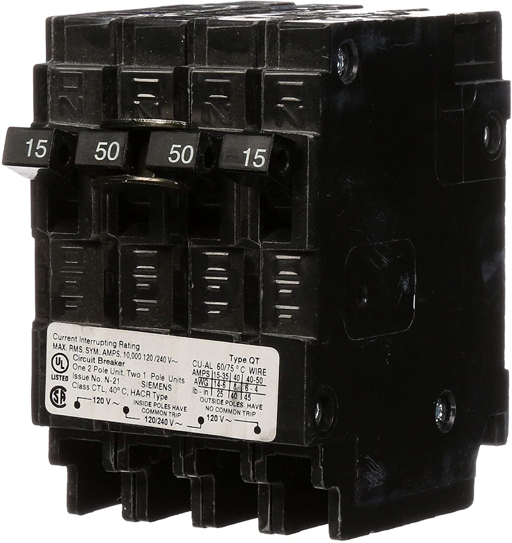 Siemens Q21550CT 50-Amp Double Pole Two 15-Amp Single Pole Circuit Breaker