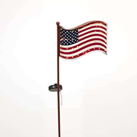 Solar Lighted Metal USA American Flag Yard Stake Garden Decor 40u0026quot; New  Patriotic