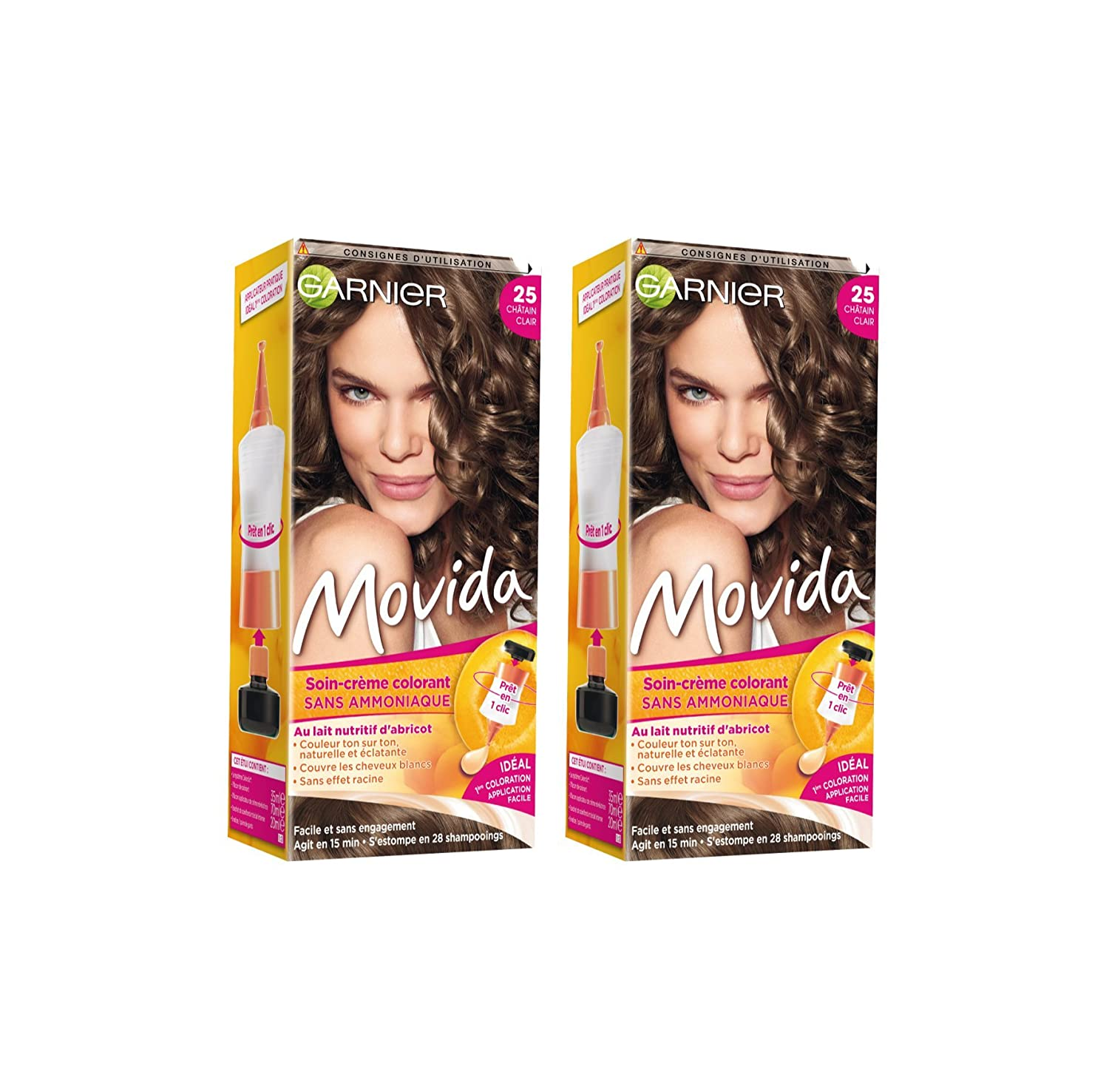 garnier movida coloration temporaire sans ammoniaque chtain 25 chtain clair - Coloration Temporaire