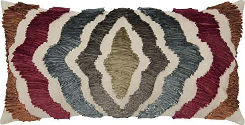 Rizzy Home TR4021 Decorative Pillow, 11 x 21 , Red Multi