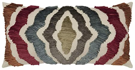 Rizzy Home TR4021 Decorative Lumbar Poly Filled Throw Pillow 11 x 21 Red Multi