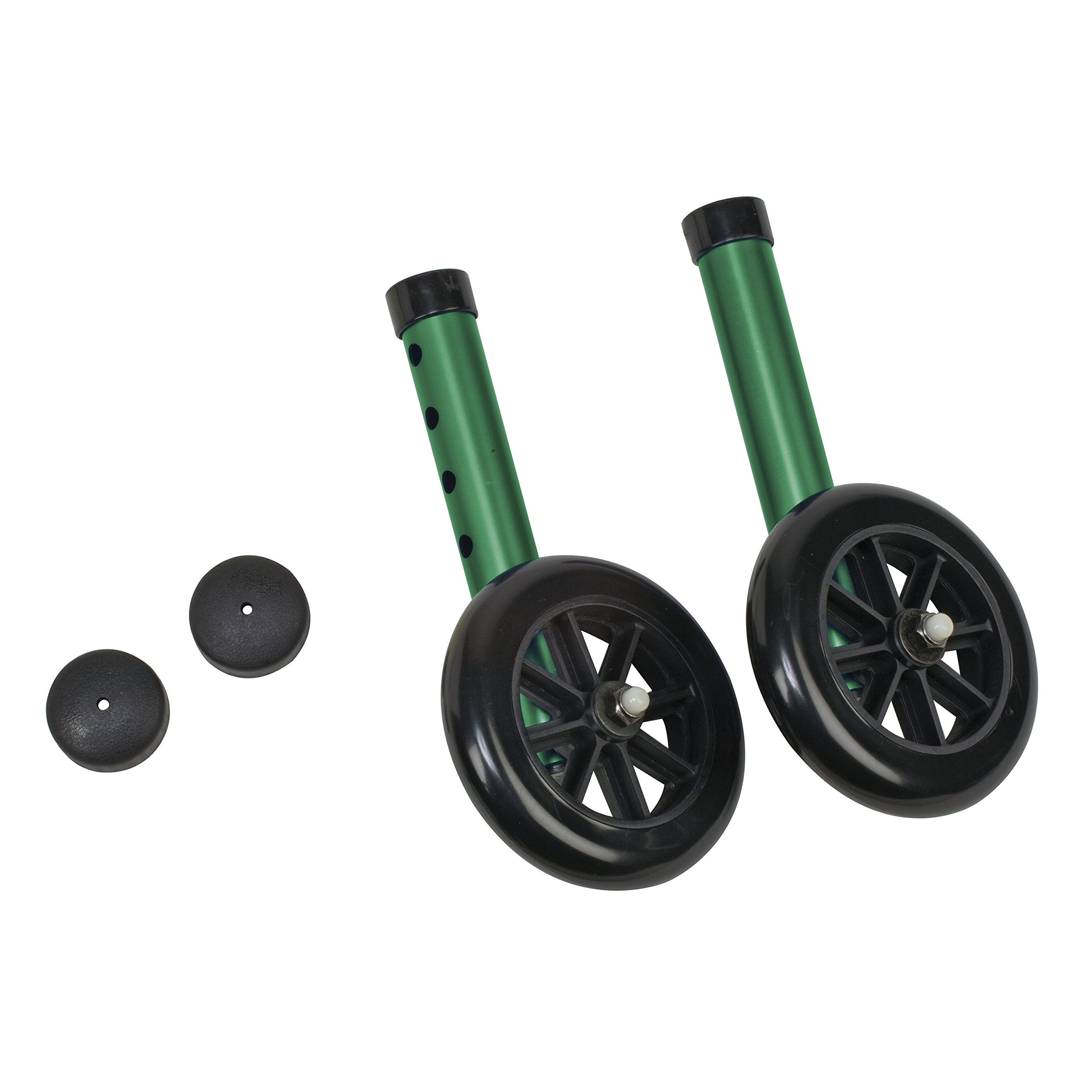 DMI Walker Wheels with Glide Caps, Green, One Pair