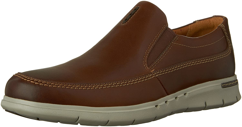 Dark Brown Leather Clarks Men's Unbyner Easy Slip-On shoes