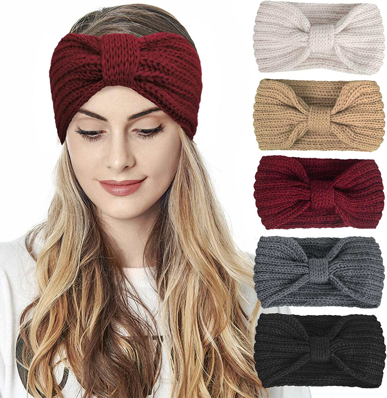 Amazon.com: Nakerfop 5 Pcs Winter Knitted Crochet Headband for Women Girls  Ear Warmer Headbands Crocheted Turban Bow Head Wraps: Clothing