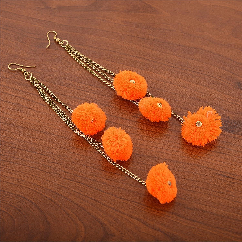 Oreleaa Jewellery Hook Dangle Tassel Long Funky Earrings with Pompoms for Girls