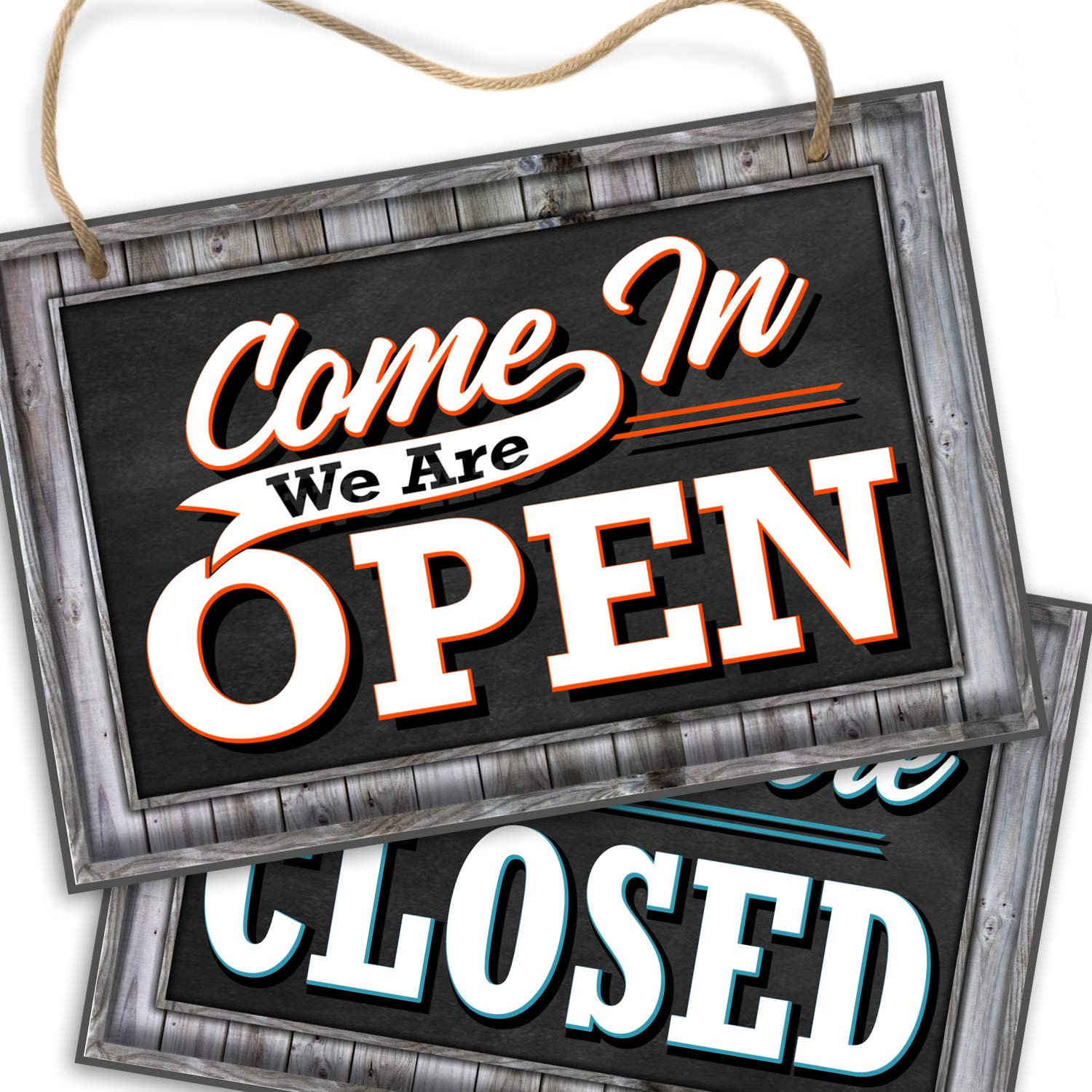 "Open Closed Sign for Business Door | Reversible Double Sided with Rope for Hanging | Come in We're Open Sorry We're Closed Signs Decor | 1/4"" PVC 8"" x 12"" 