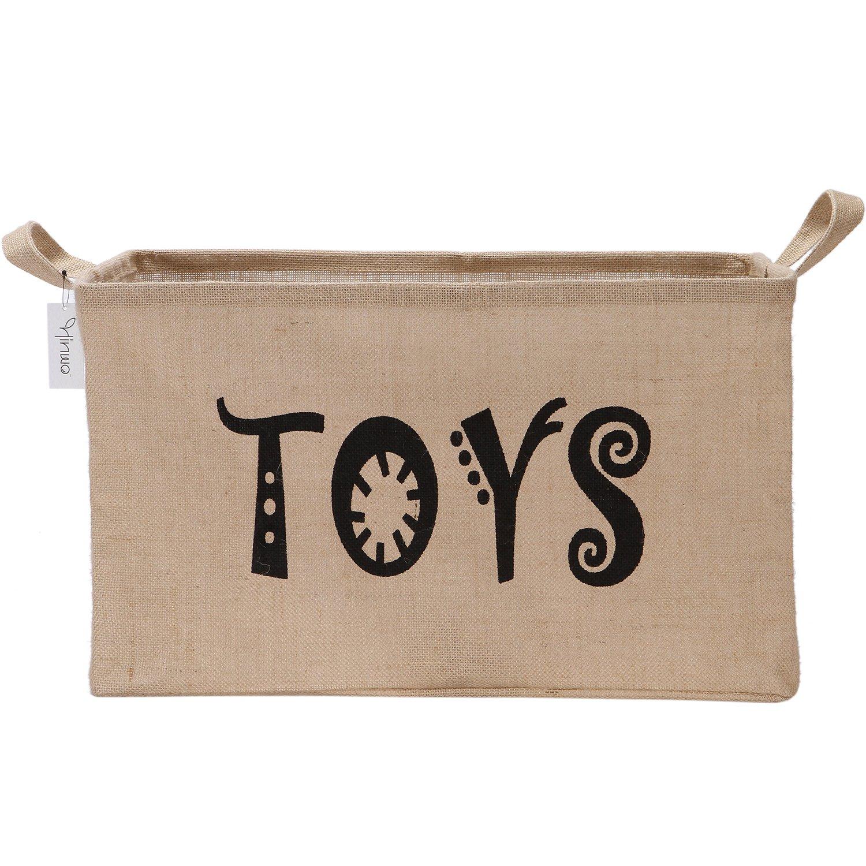 56 x 38 x 30 cm negro Toys sala de juegos y estantes Hinwo Cesta de almacenamiento de yute de lino y yute de gran capacidad con asas para juguetes ropa de lavander/ía guarder/ía