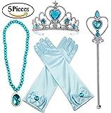 Alead Princesa Elsa Azul vestir accesorios para las niñas 4 piezas tiara,varita mágica,guantes y collar
